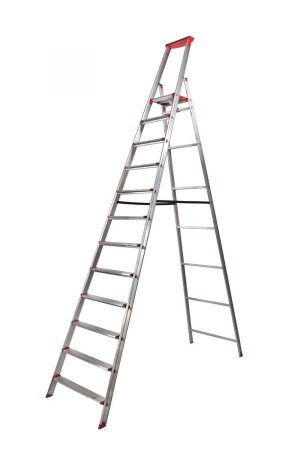 """Rise-Tec Stufenstehleiter """"Red Label"""" 3 Stufen mit Ablageschale"""