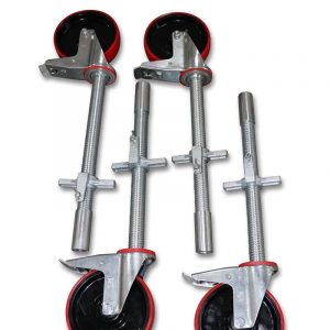 4 Stück Gerüstrollen 200 mm mit Stahlspindel, Set