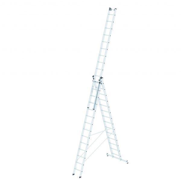 GÜNZBURGER Mehrzweckleiter 3-teilig mit nivello®-Traverse und Wandlaufrollen