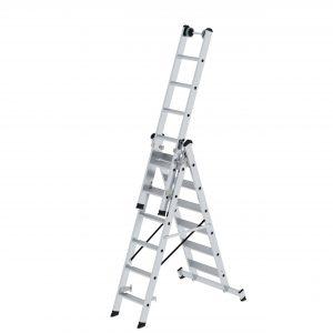 GÜNZBURGER Stufen-Mehrzweckleiter 3-teilig mit nivello®-Traverse