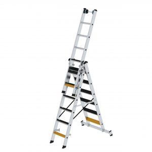 GÜNZBURGER Stufen-Mehrzweckleiter 3-teilig mit nivello®-Traverse und clip-step R13
