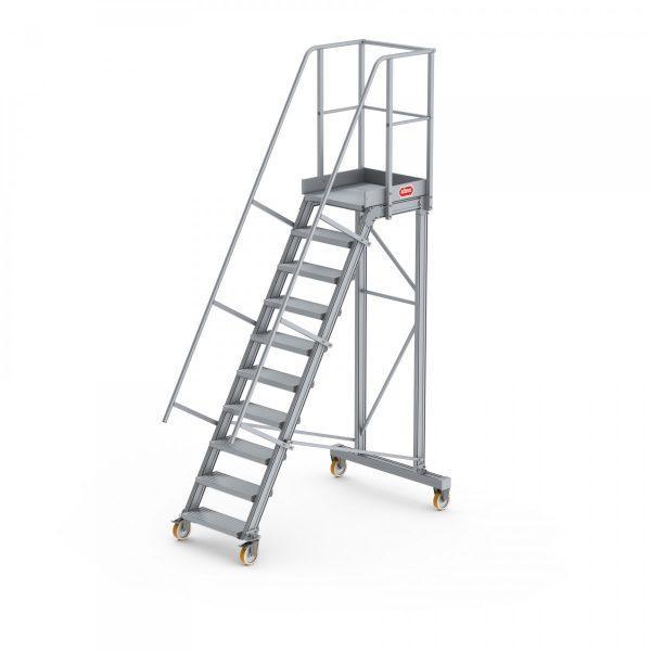 ALTREX Fahrbare Plattformtreppe mit 4 Rollen – mit Geländer und Handlauf, beidseitig *