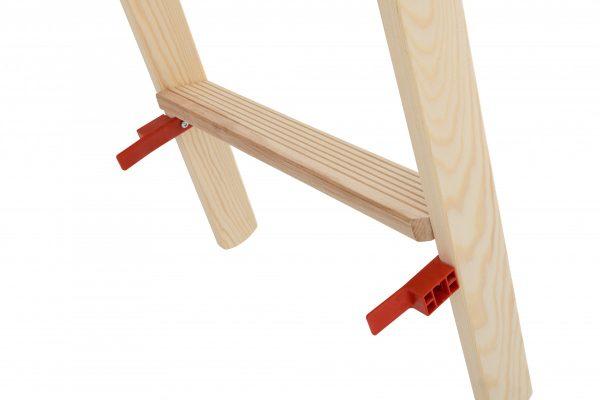 HYMER 74199 Holz-Stufenstehleiter, beidseitig begehbar