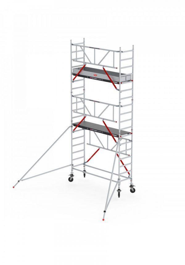 ALTREX RS TOWER 51-S mit Safe-Quick®2 Geländer – Aluminium Fahrgerüst schmal 0.75 m – 4,20 bis 10,20 m Arbeitshöhe – 185 cm Plattform
