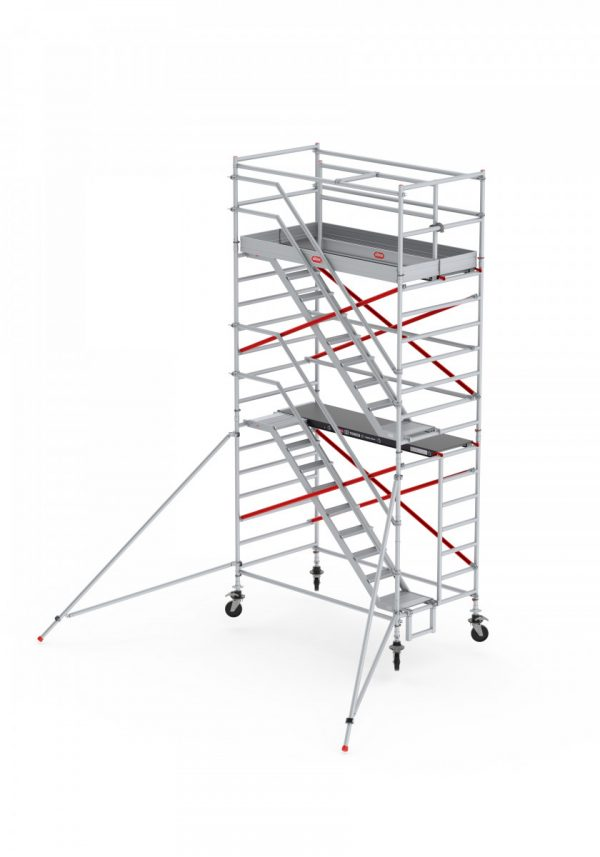 ALTREX RS TOWER 53 – Aluminium Treppengerüst breit 1.35 m – 4,20 bis 14,20 m Arbeitshöhe – Plattform 185 cm