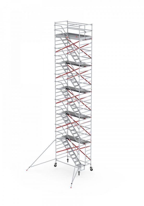 ALTREX RS TOWER 53-S mit Safe-Quick®2 Geländer – Aluminium Treppengerüst breit 1.35 m – 4,20 bis 14,20 m Arbeitshöhe – 185 cm Plattform